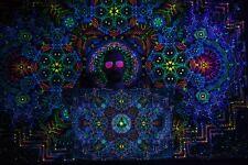 Festival Psychedelic Tapestry UV Active Sacred Backdrop Bohemian Wall Decor Yoga