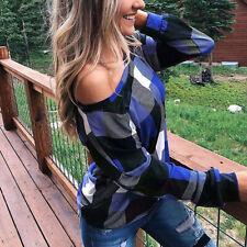 Blouse Long Sleeve T Shirt Off Shoulder Womens Tops Plaid Tee Print Loose Ladies