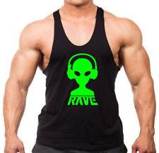 Men's Rave Alien DJ Black Stringer Tank Top Dance Music Party EDM Headphone V412