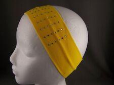 "Yellow crystal stud 2.5"" wide soft stretch elastic hair head band studded sport"
