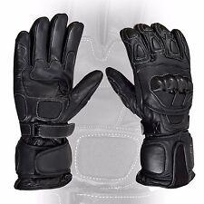 Black Motorcycle Leather Cowhide Bikers Gloves Motorbike Kevlar Protection