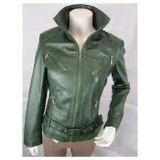 Ladies Green Napa Leather Slim Tight Fitted Short Biker Fashion Bike Jacket