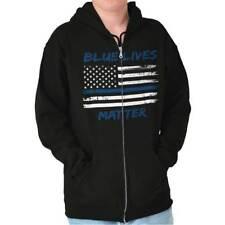 Blue Lives Matter Shirt | Police Support Officer Law Guns USA Zip Hoodie