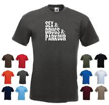 'Sex & Drugs & Parkour' Funny Men's Freerunning Custom T-shirt