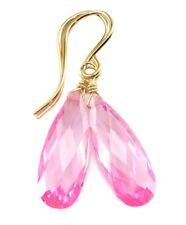 14k Gold Cubic Zirconia Earrings Sim Pink Sapphire CZ Teardrops Sterling Drops