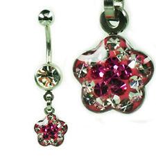 EPOXY Crystal Bauchnabel Piercing Blume Anhänger viele Kristalle beschichtet
