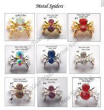 Spider 3d Metal Crystals Nail Art -  DIY - Craft - Halloween Silver M7-817 -uk