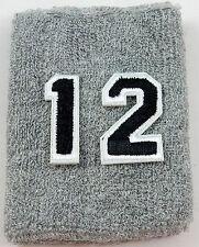 NEW! Custom Number Gray Black Wristband Sweatband Football Baseball Basketball