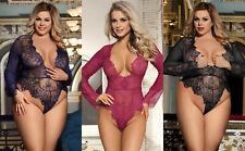 Sleepwear Underwear Teddy Lace Lingerie Babydoll Sleeve Plus Size 8 10 12 14 16