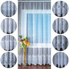 Gardine Jacquard Universalband Gardinen Spitzenoptik Vorhang Blumenmuster weiß
