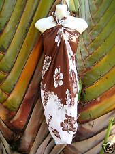 New Hawaii Sarong Pareo Brown White Hibiscus Hawaiian Luau Cruise Beach Dress