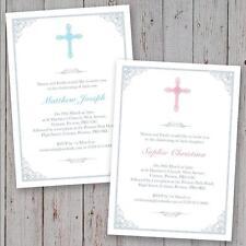 Personalised Christening Invitations Baptism invites boy girl crucifix cross