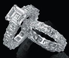 7.04 Carat Asscher Cut Diamond Eternity Bridal Set D IF