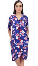 Bimba Royal Blue Floral Print Women Turn-Down Collar Sleepshirt Night Dress
