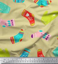 Soimoi Fabric Socks & Gloves Folk Art Print Fabric by the Yard - FA-511J