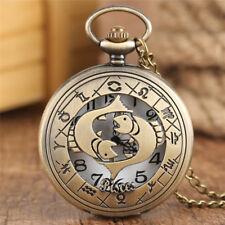 Vintage 12 Zodiac Constellation Unisex Quartz Pocket Watch Pendant Chain Gifts