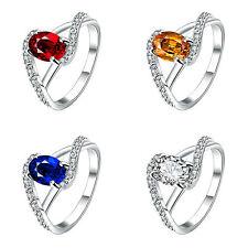 2 Karat Ring Silber pl Silberring mit 11 Zirkonia Verlobungsring Valentin