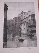 Gravure 1876 - Une scèned'inondation dans la vallée du Rhone