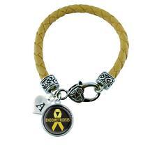Custom Endometriosis Awareness Yellow Leather Bracelet Jewelry Choose Initial