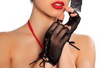 Mini Fishnet Lace Up Fingerless Tip Gloves Wrist Length GLF