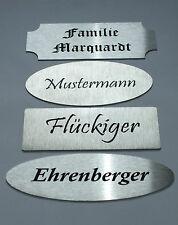 Edelstahl Türschild XL, Namensschild, Klingelschild  Laserbeschriftung, klebend