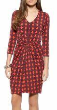 Karen Kane Tangerine Red Diamond Print Stretch Jersey Dress - $108