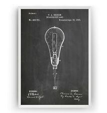 Thomas Edison Incandescent light bulb Patent Print Poster Art Gift - Unframed