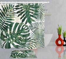 Tropical Plants Palm Leaves Fabric Shower Curtain Set for Bathroom Decor Hooks
