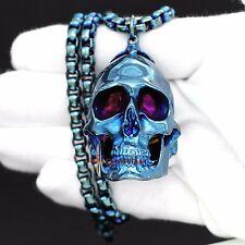Men Biker Pendant 6mm Chain Necklace Large Blue 316L Stainless Steel Skull Biker