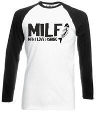 Da Uomo Uomo I Love Pesca (MILF) Maglietta da Baseball a Manica Lunga-Regalo Divertente