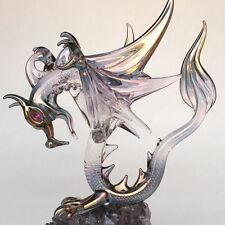 Dragon Figurine Winged Blown Glass on Amethyst Crystal