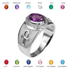 Sterling Silver Egyptian Ankh Cross Birthstone CZ Ring