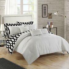 Twin Queen King Bed Bag White Black Lattice Geometric Diamond 10pc Comforter Set