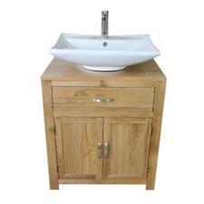 Bathroom Vanity Oak Cabinet Furniture Wash Stand & Ceramic Basin & Tap Option