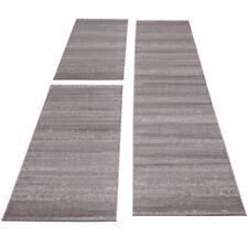 Teppich Bettumrandung Kurzflor Teppiche Einfarbig Läufer-Set 3-teilig Beige