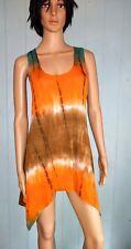 JOSTAR Rayon Spandex Slinky Stretch Orange Tie Dye TANK TOP Travel Knit  S M L X