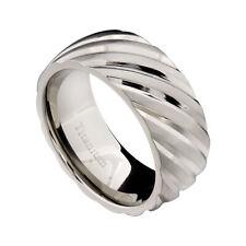 9mm Titanium Dome Band Satin w Swirled Diagonally Grooved Wedding Ring SZ 9-12