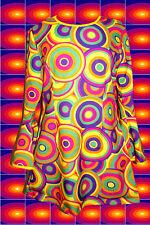 202✪ groovy Regenbogen Hippie Trompetenärmel Kleid Kostüm 60er 70er Jahre bunt