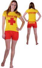 Ladies Women LifeGuard Baywatch Fancy Dress Costume T Shirt Shorts Party Hen