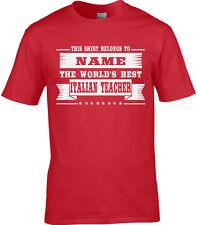 Italien Teacher hommes personnalisé T-shirt langue ECOLE maître de conférences