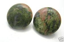 Ohrringe Ohrclips Edelsteine Mineralien Epidot grün Silber 20mm rund
