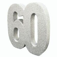 Purpurina Plateada 60 Fiesta Aniversario Decoración De Mesas centro número 60