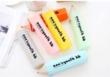 Pencil Shape Plastic Pencil / Pen Case Pouch Bag Comestic Storage Holder