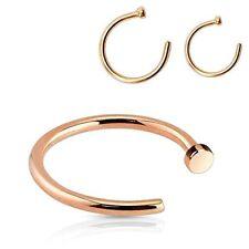 """Rose Gold Nose Hoop Ring 22 Gauge (0.75mm) 5/16"""" And 3/8"""" Set Of 2"""