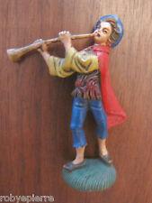 Statuina presepe vintage crib statue italy '60 pastorello con piffero flauto c