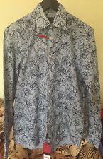 NEW - Feraud Men's Cotton Long Sleeve Collared Shirt - Designer Print