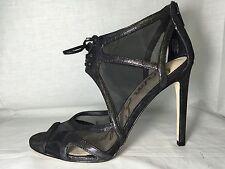 Sam Edelman Pompei black leather mesh peep open toe high heel lace up sandal new