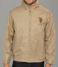 U.S. Polo Assn Mens Jacket Solid Polar Fleece Lining Windbreaker Khaki Coat -