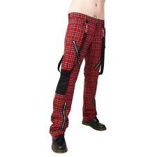 Black Pistol Jeans Hose - Punk Pants Tartan Rot