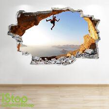 ROCK CLIMBING WALL STICKER 3D LOOK - BOYS KIDS BEDROOM EXTREME SPORT DECAL Z127